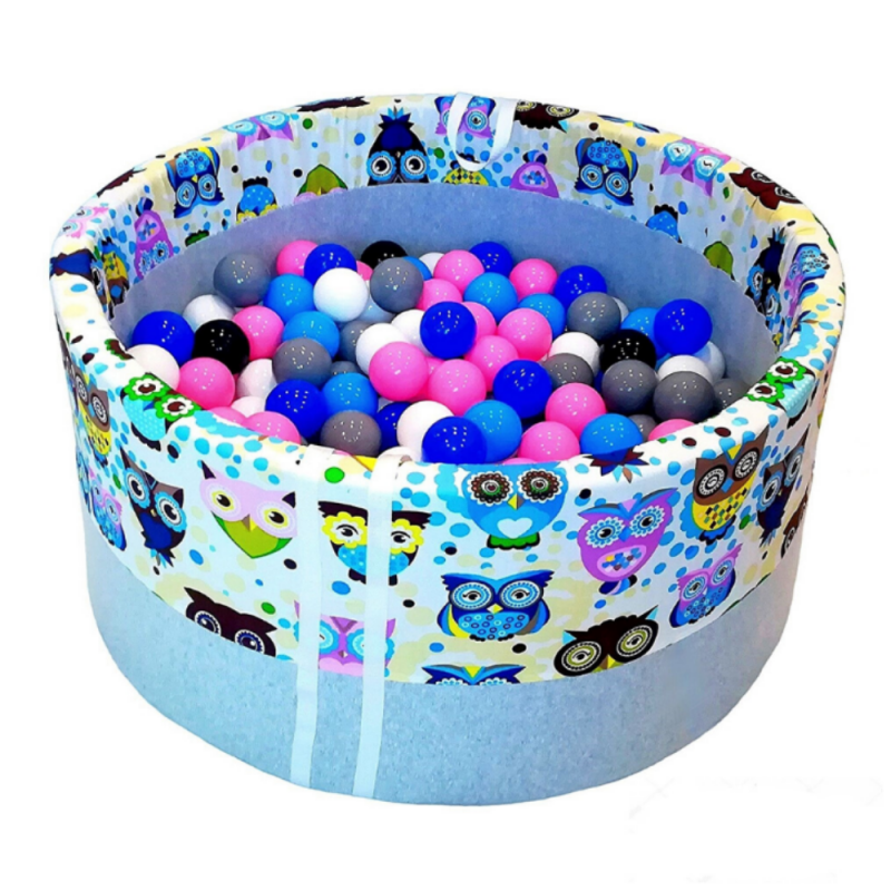 dry pool with balls - blue owls