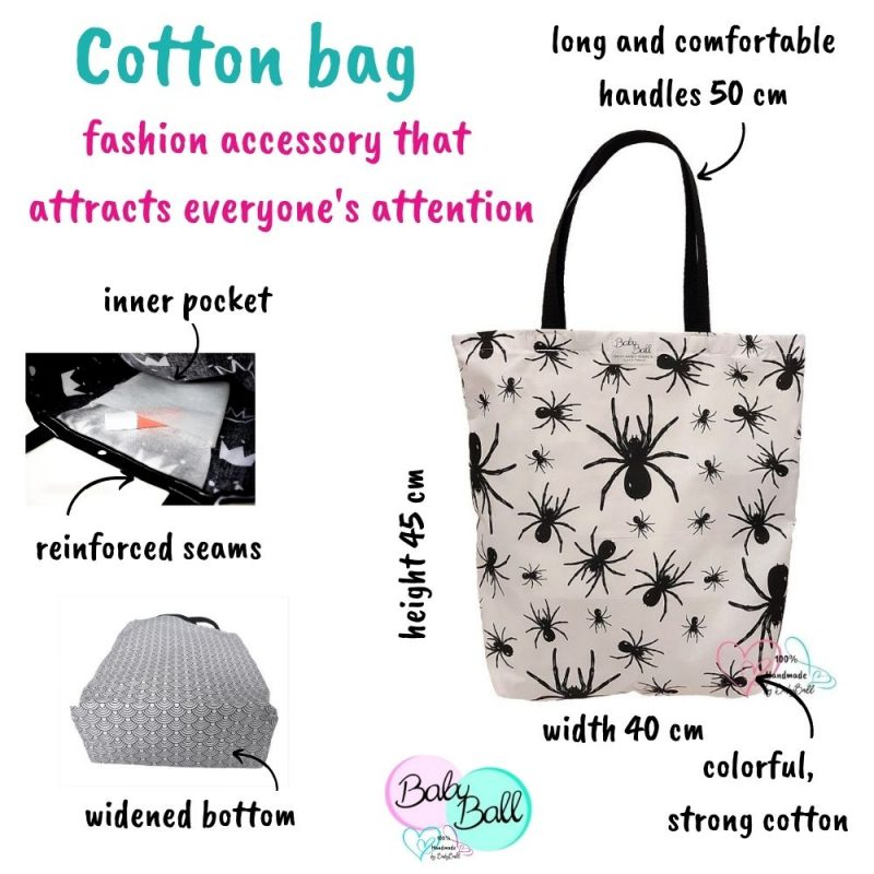 Cotton shopping bag - black spiders
