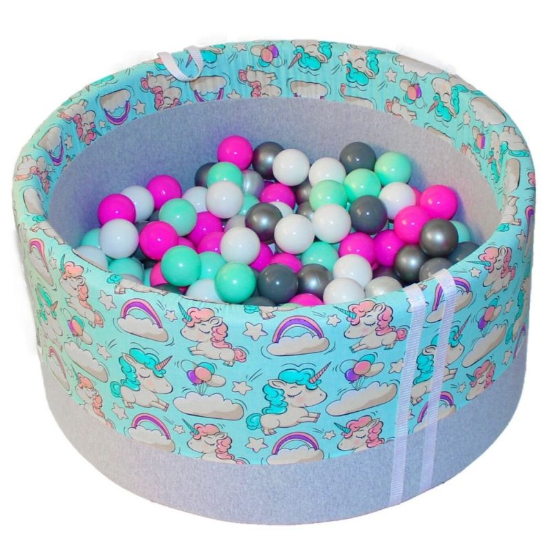 dry pool with balls - unicorns on a mint background