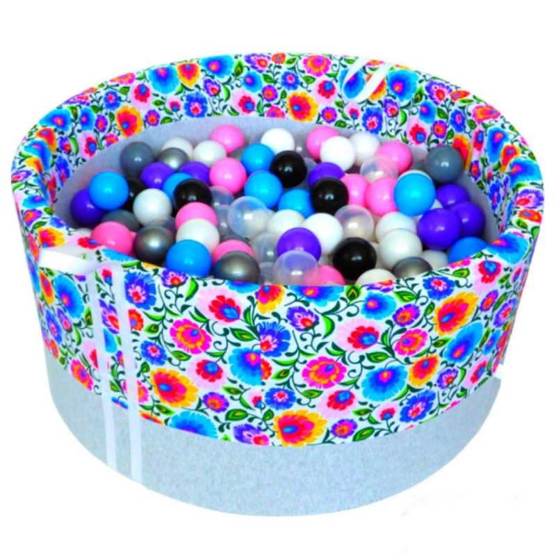 dry pool with balls - folk flowers on a light background