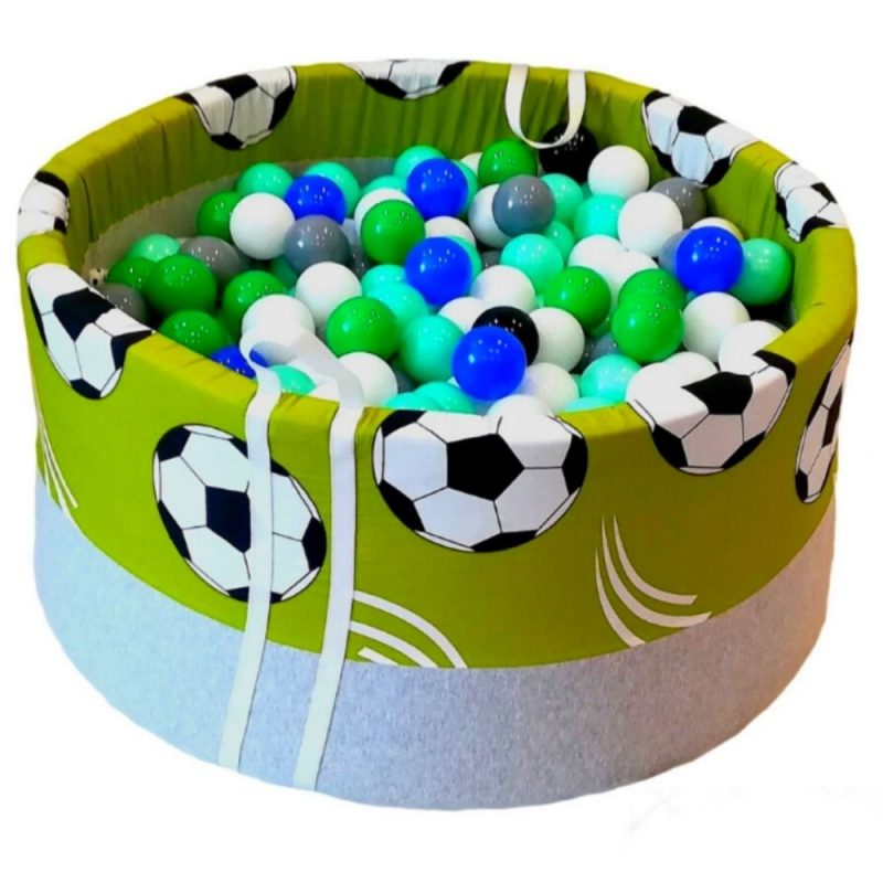 dry pool with balls - balls on a green background